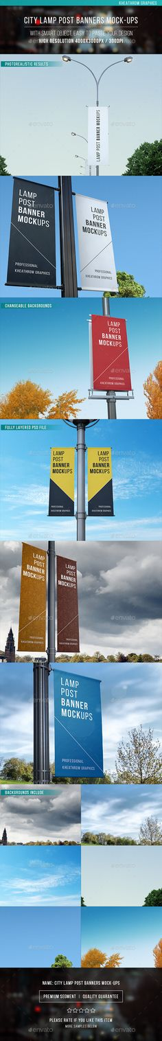 City Lamp Post Banners Mock-ups #outdoor Download…