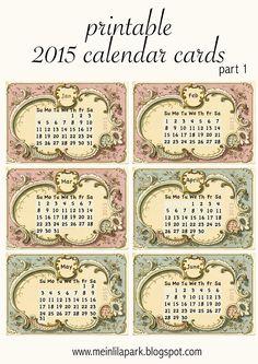 FREE printable 2015 vintage calendar cards