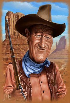 John Wayne (JW) Caricature - http://dunway.us
