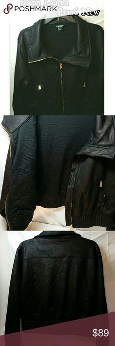 Luaren moto jacket Brand New Black with gold harware. Brand New. Excellent Condition. Never worn. Ralph Lauren Jackets & Coats