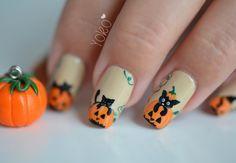 Nail art - Halloween Citrouille et chats - Nail art - Le blog de Yoko