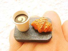 Kawaii Ring Food Coffee  Croissant Miniature Food Jewelry