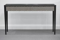 A10:495208 Classic Julian Herringbone console table (Ebony & Ivory)