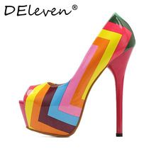 Latest Rainbow Stripe Iridescent Color Shoes Multicolored  Leather Sexy Stiletto High heels Shoes Open toe Women Pumps shoes