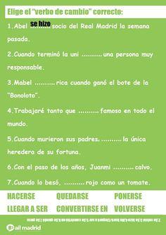 (NIVEL B2) Ponte a prueba con los verbos de cambio y elige el verbo y el tiempo correctos...¡Feliz finde! #verbosdecambio #B2 #nivelB2 — at AIL Madrid Courses - Learn Spanish in Spain