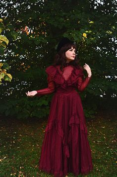 Vintage Gunne Sax burgundy dress my color