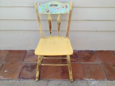 Yellow shabby chic chairs I just refinished