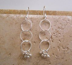 Sterling Silver and Plate Circle Dangle Earrings    by ByEJewelry, $15.00