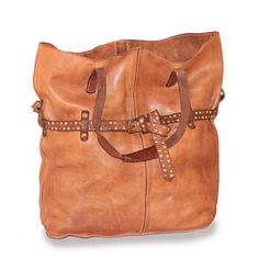 Bag in cognac colored leather from Campomaggi. Campomaggi Shopping Bag- Handbags - Bags