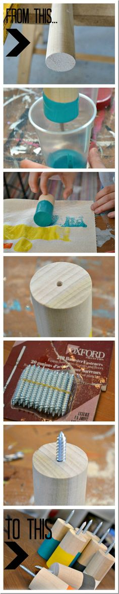 Wooden coat hooks dipped in paint, an easy DIY that is inexpensive and uses minimal tools! Wooden Coat Hooks, Paint Dipping, Ideias Diy, Reno, Diy Table, Wooden Diy, Wood Projects, House Projects, Decoration