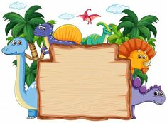 Find Many Dinosaur On Wooden Banner Illustration stock images in HD and millions of other royalty-free stock photos, illustrations and vectors in the Shutterstock collection. Dinasour Birthday, Dinosaur Birthday Cakes, Dinosaur Birthday Invitations, Boy Birthday, Cute Dinosaur, Dinosaur Party, Die Dinos Baby, Dinosaur Cake Toppers, Dinosaur Illustration