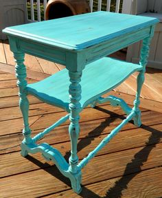 Shabby Chic Turquoise Side Table by Stefantastical on Etsy, $190.00