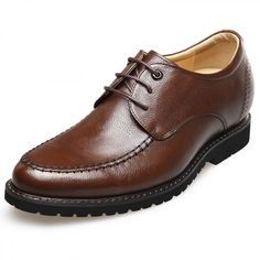 2.6inch / 6.5cm lightweight soft leather stitched taller casual shoes brown