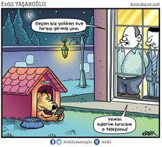 - Geçen biz yokken eve hırsız girmiş yine. - Yemin ederim kırıcam o telefonu! #karikatür #mizah #matrak #komik #espri #şaka #gırgır #komiksözler Akita, Caricature, Good Times, Peanuts Comics, Haha, Family Guy, Cartoon, Humor, Education
