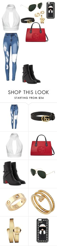 """01-05-16"" by nair-carrillo ❤ liked on Polyvore featuring Gucci, AQ/AQ, Christian Louboutin, Ray-Ban, Cartier, Movado and Fendi"