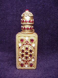 Vintage Czech Jeweled Perfume Bottle Vial & Case