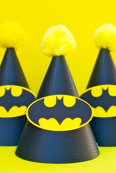 Batman party hats - make your own with plain black hats and printed Batman logos