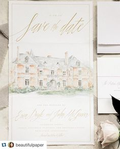 combination of architectural watercolor and calligraphy