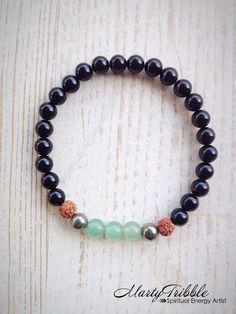 Rudraksha Mala Bracelet » Gemstone Bracelet » Energy Bracelet » 4th Chakra Bracelet » Yoga Jewelry » Vegan Bracelet » Healing Bracelet by MartyTribble on Etsy
