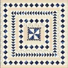 Regency Blues Quilt Kit for a 78 x 78 size finished quilt top. Comes with pattern book with 8 different design ideas. From Christopher Wilson Tate, designer for Moda fabrics. Nancy Zieman, Quilt Border, Quilt Top, Tim Holtz, Medallion Quilt, Blue Quilts, White Quilts, Book Quilt, Quilt Kits