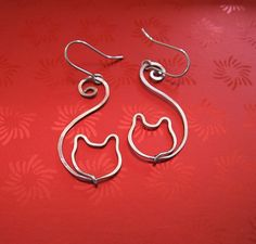 Wire Cat Earrings