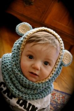 Crochet hat and scarf with ears for a little cutie!