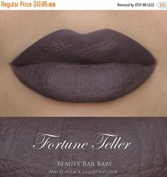 NEW FORMULA AS OF 3/23/16 Matte Attack Liquid Lipstick in Fortune Teller A matte purple/grey wet cement shade Liquid to matte kiss proof & smudge proof vegan formula created in house in small batches by me! Exfoliate before use & apply to clean dry lips. ***Apply a 2-3 coats for more coverage if desired as some colors are more opaque then others. Some settling may occur due to the nature of the formula, so give your tube a good shake before application or swoosh your applicator wand arou...