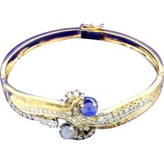 Star Sapphire and Diamond Bangle Bracelet
