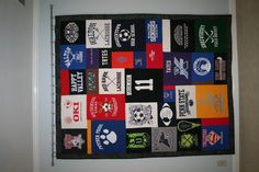 Lacrosse t-shirts are transformed into this unique, well designed and modern t-shirt quilt. Ask us how we can help you with your stash of t-shirts. Tees2Tresure.com, Marietta, GA