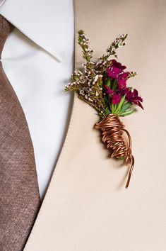 Copper wire wrapped wedding boutonniere.