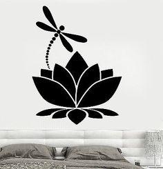 Wall Vinyl Sticker Decal Lotus Flower Dragonfly Meditation Yoga Studio (z2909)
