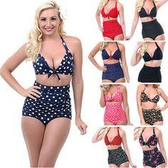 96bf484b04cd4 Retro 1950s Bikini Chic High Waist Swimsuit Women Swimsuits