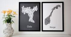 Design by Odd - Vi elsker design, grafikk og Norge! Oslo, Nifty, Gallery Wall, Wall Decor, Frame, Design Posters, Norway, Beautiful, Home Decor