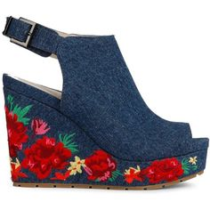 Kenneth Cole New York Women's Olani Floral Printed Wedge Sandals ($170) ❤ liked on Polyvore featuring shoes, sandals, blue, blue sandals, blue shoes, wedges shoes, blue wedge shoes and floral wedge shoes