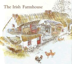 One hundred years ago, thatched houses were very common in Ireland.  This shows the interior of a typical croft.