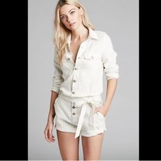 Free People Striped Romper Great looking romper in cream color. Free People Shorts
