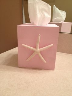 Hand made tissue box with starfish accent by ThePinkSandollar, $12.00