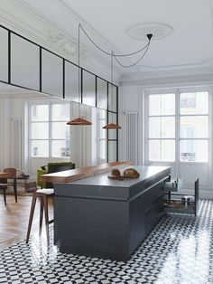 Modern kitchen with classic architectural details, printed tile floors, and rose gold pendant lights Kitchen Interior, New Kitchen, Kitchen Dining, Kitchen Decor, Kitchen Ideas, Kitchen Black, Dining Room, Apartment Kitchen, Kitchen Trends