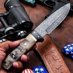 ALONZO KNIVES USA CUSTOM HANDMADE DAMASCUS TACTICAL HUNTING KNIFE RAM HORN 161 #AlonzoKnives