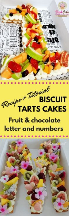 Fruit Biscuit Tart Layered Cake (Recipe + Tutorial) | The latest craze that is inspiring the caking world is these fruit tart, biscuit, cake layered number or letters 'cakes' decorated with cream, fresh seasoned fruit and sometimes chocolate.