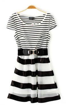 Black and White Organza Striped Short Sleeve Dress #Black_and_White #Striped #Dress #Fashion