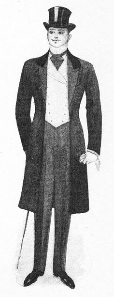 Here is an idea of what Jacks entire outfit might look like. The long coat was another fashion trend that men loved.