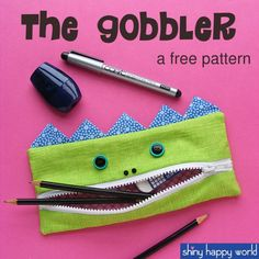 Free Pattern – The Gobbler – A Pencil Eating Monster for Back to School From Shiny Happy World, one of my favorite crafters.