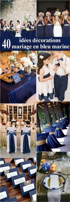 40 idées décorations mariage en bleu marine. Le bleu marine et le blanc est un arrangement de couleur très élégant pour un #mariage #décoration #idéesdéco #autourdelafrance