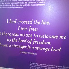 """""""I had crossed the line. I was free: but there was no one welcome me to land of freedom. I was a stranger in a strange land."""" -Harriet Tubman quote"""