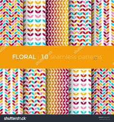 Set of floral seamless patterns. The patterns are composed of colorful leaves, flowers and branches. Designs suitable for fabric, tile and scrapbooking paper.