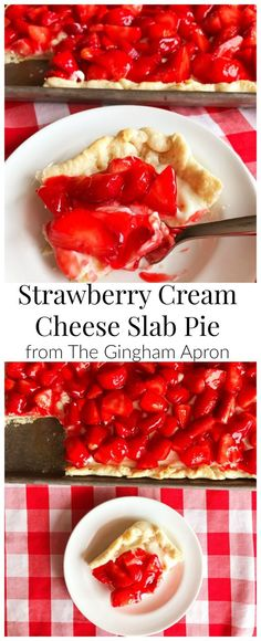 Strawberry Cream Cheese Slab Pie- a delicious dessert that feeds a crowd! Perfect for spring and summer.