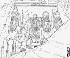 desenho de Os templos de Abu Simbel, Egito para colorir