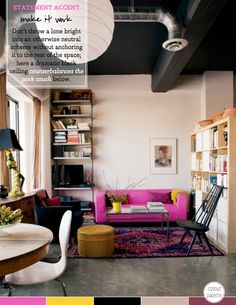 bright-pink-couch-sofa-black-ceiling