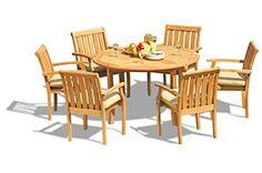 teakstation 4 seater gradea teak wood 5 pc dining set 52 round table and 6 somerset